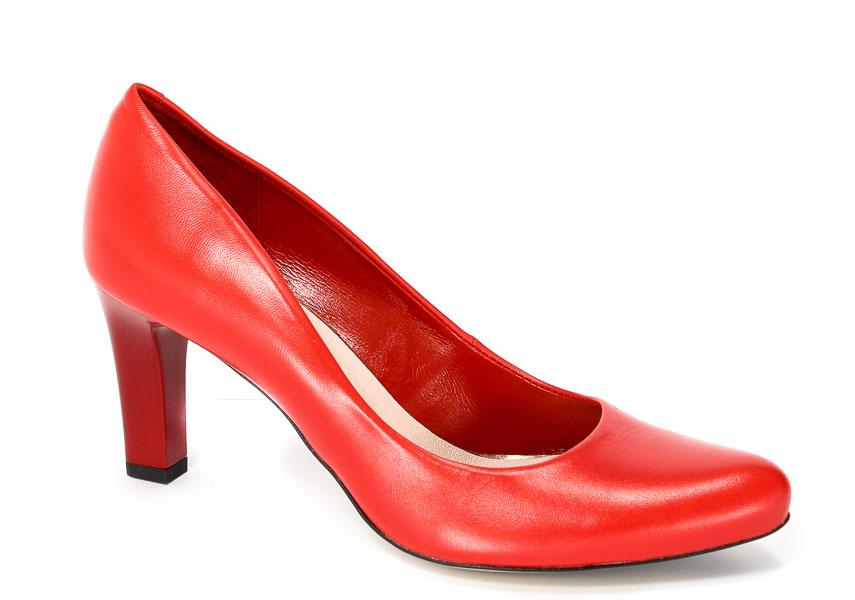 Czółenka Bravo Moda 1381 Czerwona skóra