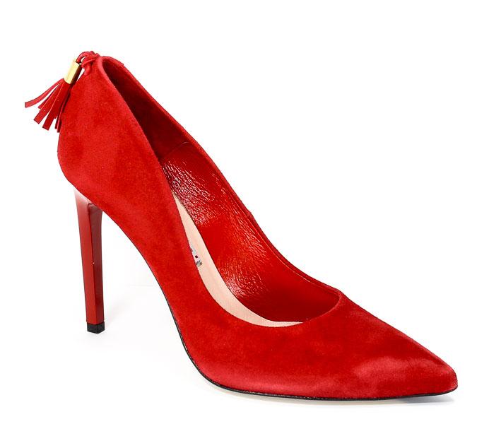 Czółenka Bravo Moda 1480 Czerwony Zamsz