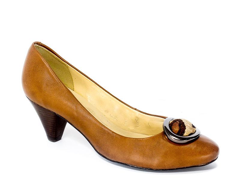 Czółenka Via Uno 11042503 Tan Leather-Nappa.Prz