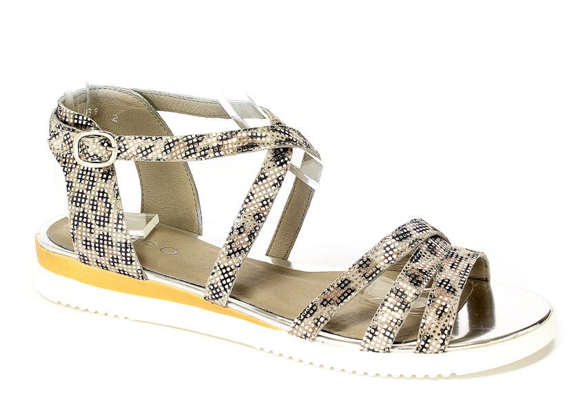 Sandały Euro Moda Ed.Sa. 2223A-S61/758/758 Srebro/Cętki