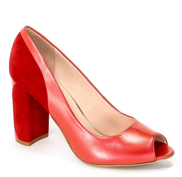 Czółenka Letnie Bravo Moda 1500 Czerwona Perła+Zamsz