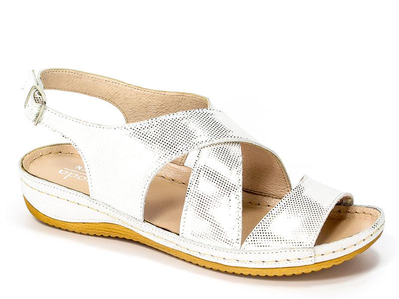 Sandały Euro Moda Tych. 573 Srebrne Kropki