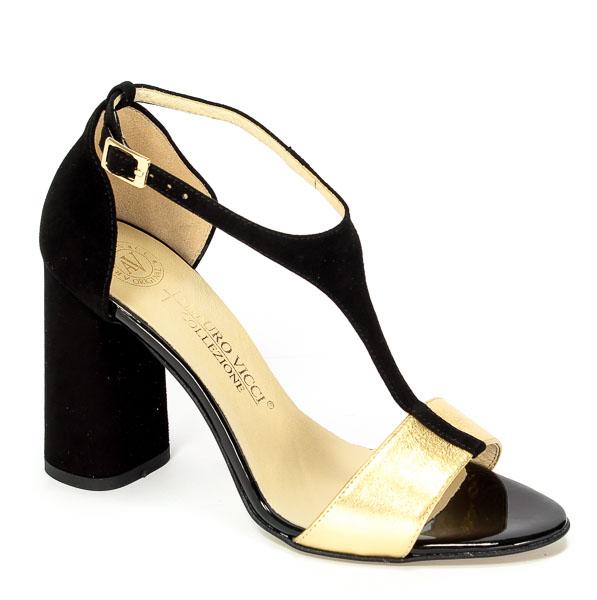 Sandały Arturo Vicci 3420/5961 Czarny Zamsz/Złoty