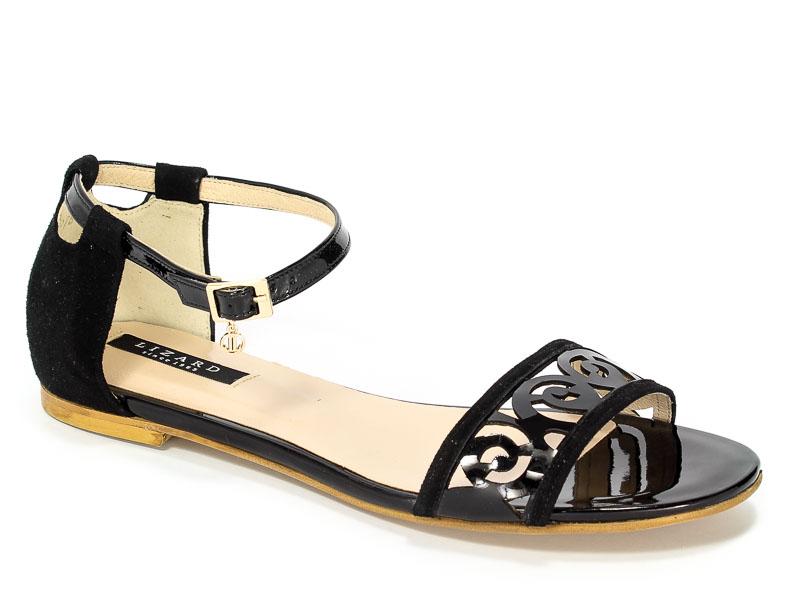 Sandały Lizard 04278-000M-02 Czarny Zamsz/Czarny Lakier