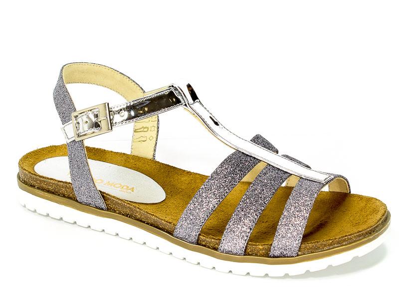 Sandały Carsona 13401 Srebrny Brokat