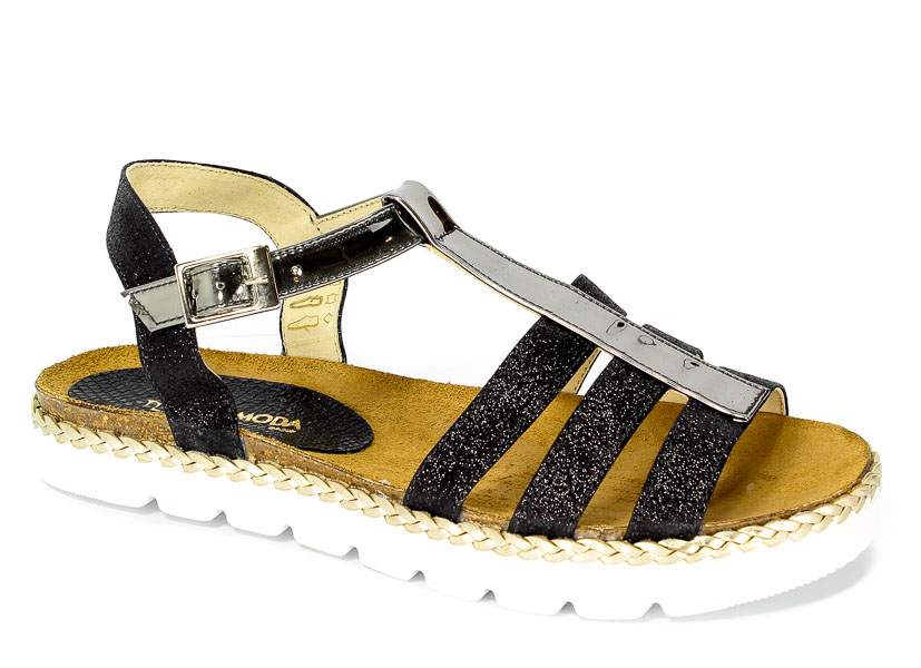 Sandały Carsona 13408 Czarny Brokat+Metal