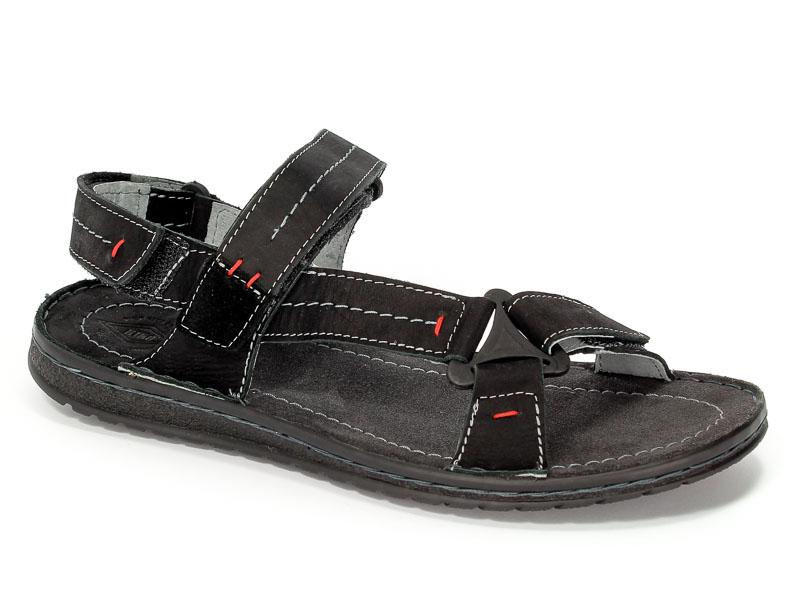 Sandały Riko 806 Czarne Crazy Welur