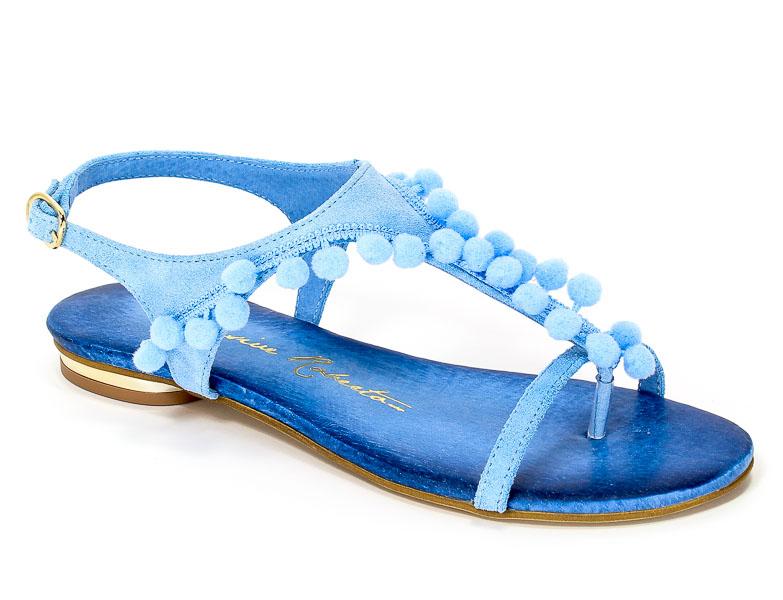 Sandały Exclusive Roberto 570 Błękit Zamsz