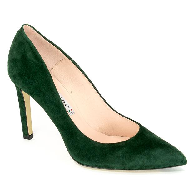 Czółenka Bravo Moda 1373 Zielony Zamsz