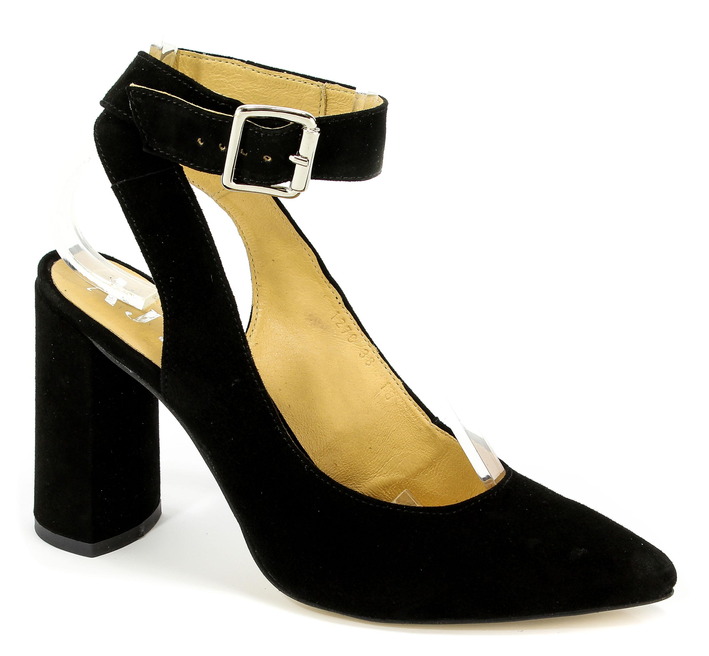 Sandały A.J.F 01270 Czarny 004 Zamsz