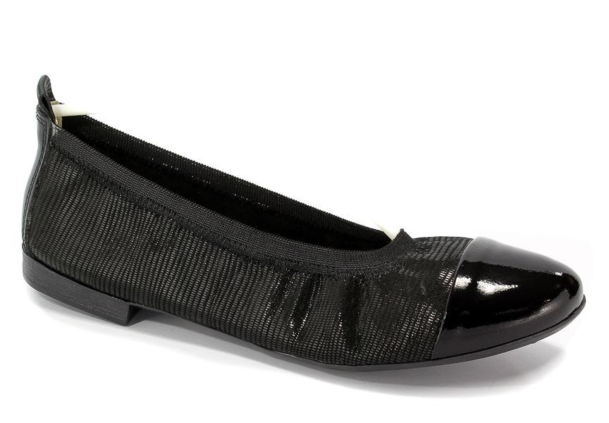 Baleriny Lewski 2504 Czarny Tejus/Lakier