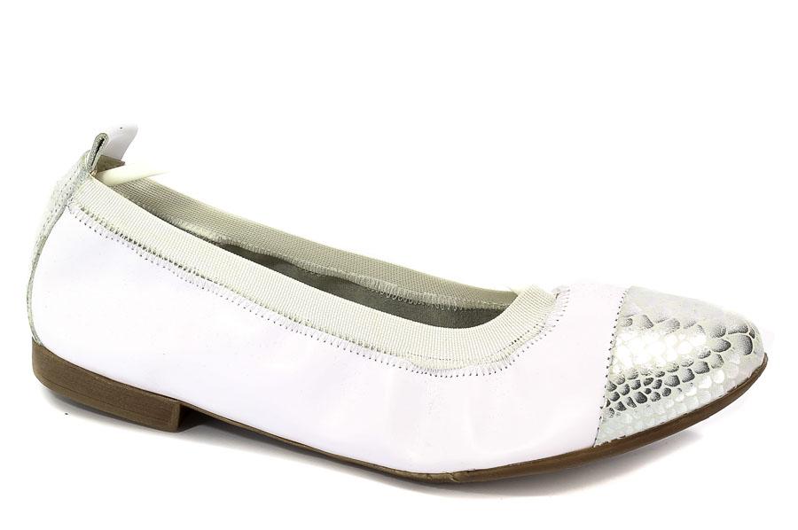 Baleriny Lewski 2504 Biały Srebro