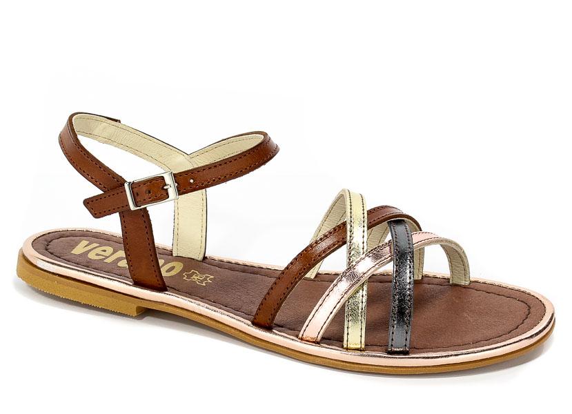 Sandały Verano 105 Antracita Platino Samoa Leno