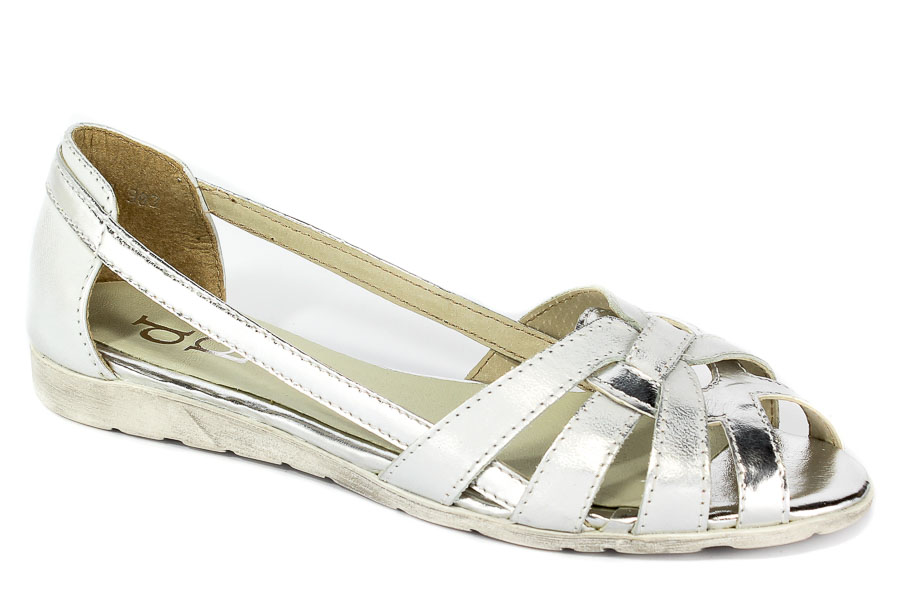 Sandały Piechur 2020-124-01-2 Biało Srebrny