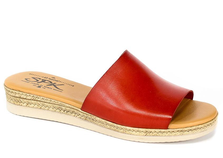 Klapki SPK Shoes 8302 Vaquetilla Rojo