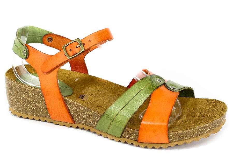 Sandały SPK Shoes 801 Vaquetilla Naranja/Musgo