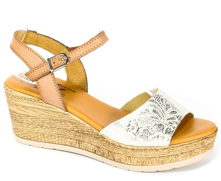 Sandały SPK Shoes 8201/F Evora/Vaquet Plata/Nuez