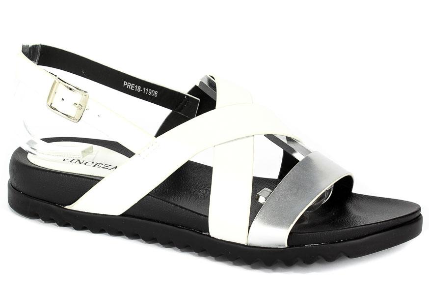 Sandały Vinceza PRE18-11906 White Silver Biały