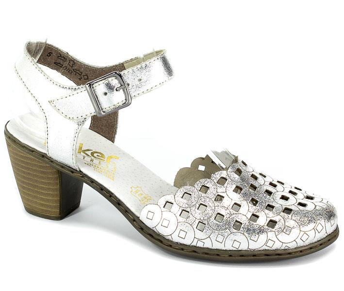 Sandały Rieker 40955-90 Silver/Platinum