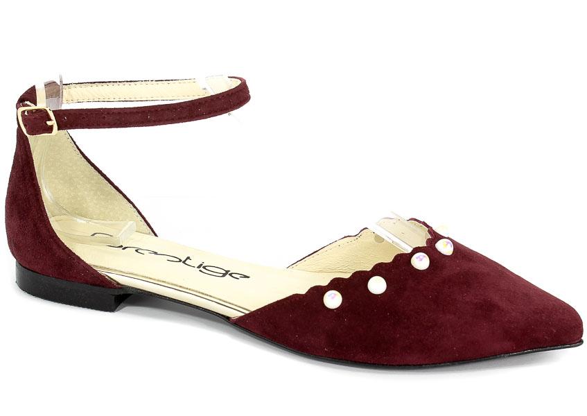 Sandały Prestige 1015 Bordo-Zamsz