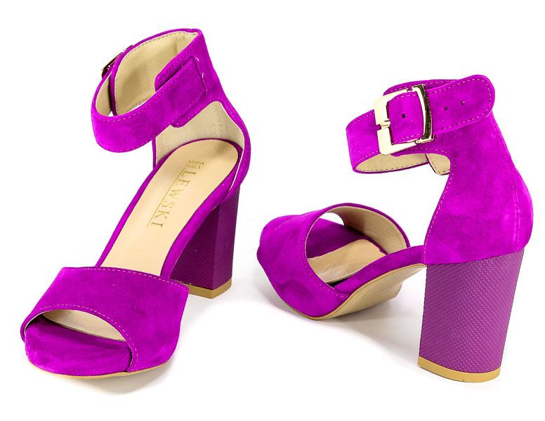 Piękne sandały Lewski 26612 fuksja zamsz