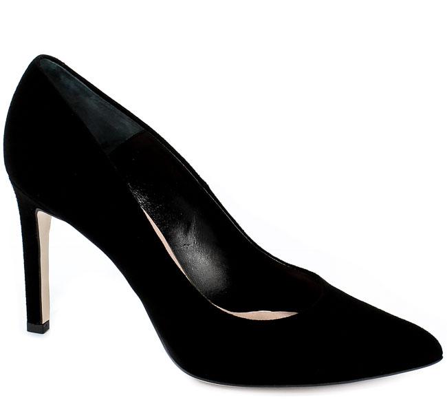 Czółenka Bravo Moda 1373 Czarny Zamsz