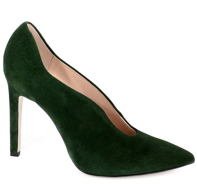 Czółenka Bravo Moda 1591 Zielony Zamsz