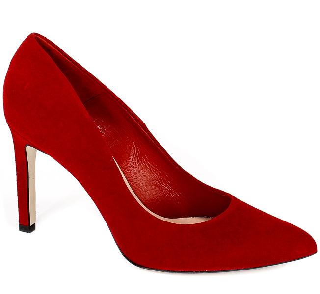Czółenka Bravo Moda 1373 Czerwony Zamsz