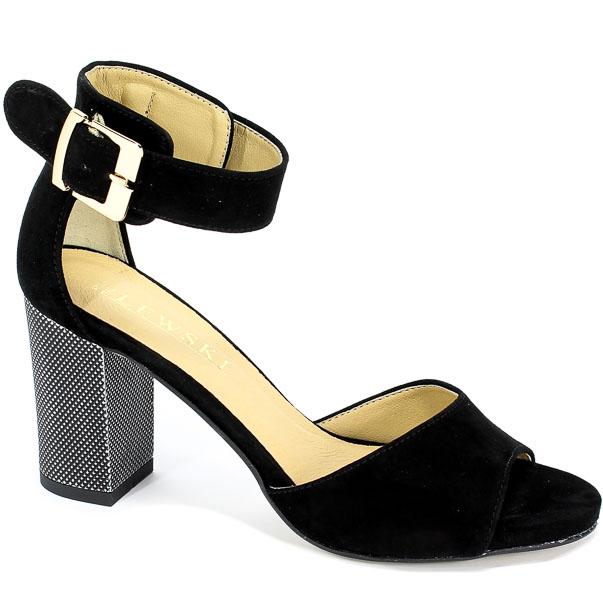 Sandały Lewski 2661/2 Czarny Zamsz
