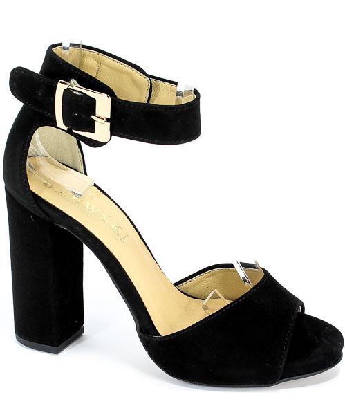 Sandały Lewski 2661/G Czarny Zamsz