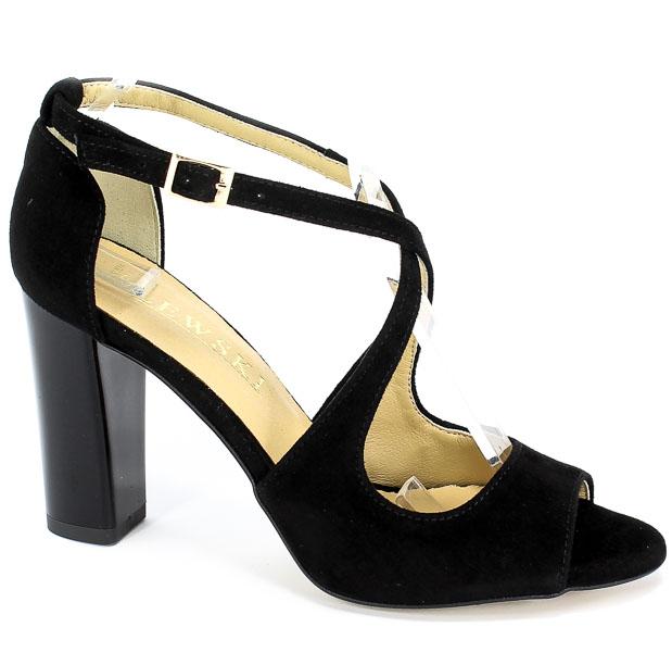 Sandały Lewski 2772 Czarny Zamsz
