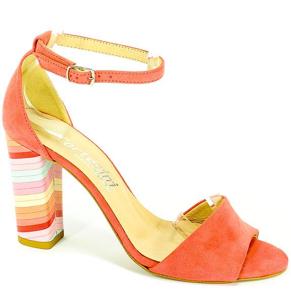 Sandały Cortesini 02254/3 Róż/Zamsz