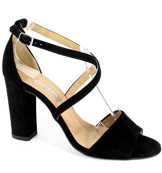 Sandały Cortesini 02284 Czarny Zamsz