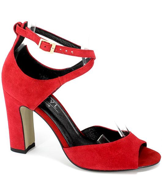 Sandały Kotyl 5915 Czerwony Zamsz