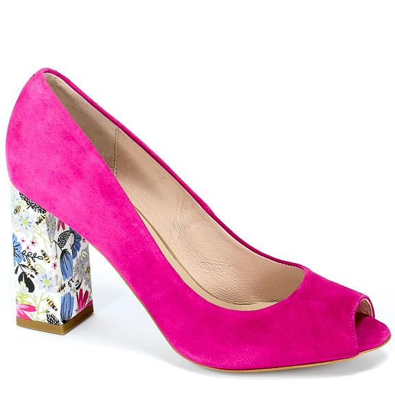 Czółenka Letnie Bravo Moda 1603 Pink Zamsz+Kwiaty