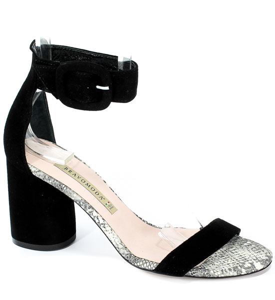 Sandały Bravo Moda 1698 Czarny Zamsz