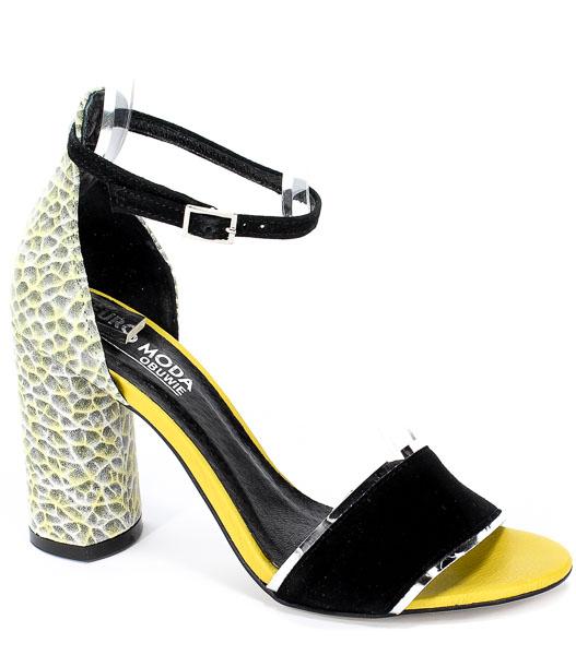 Sandały Euro Moda 19 2998/150-P Czarny/Żółty