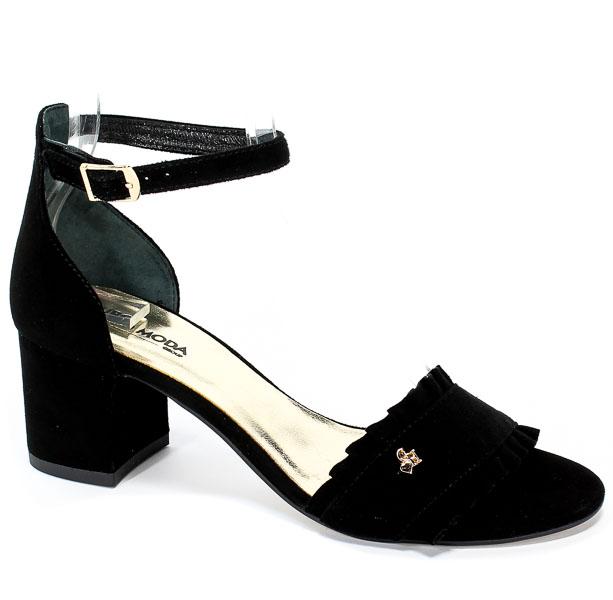 Sandały Euro Moda ChB 19 92233 Zamsz Czarny