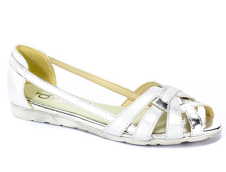Baleriny Letnie Dolce Pietro 2020-124-01-2 Biało Srebrny
