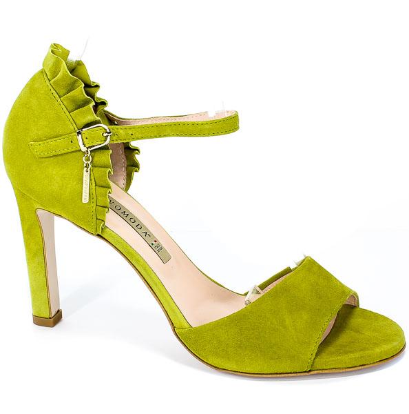 Sandały Bravo Moda 1699 Limonka Zamsz