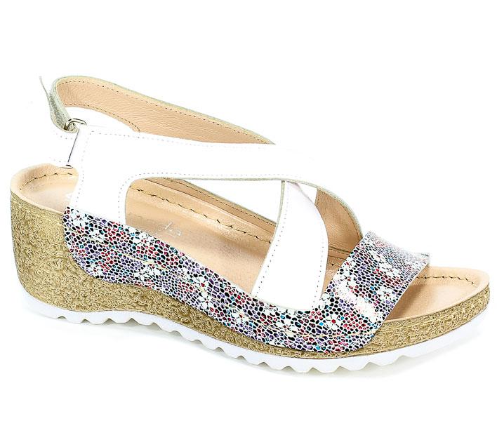 Sandały Euro Moda Tych. 611 Białe Lico Kolorowe Kwiatki