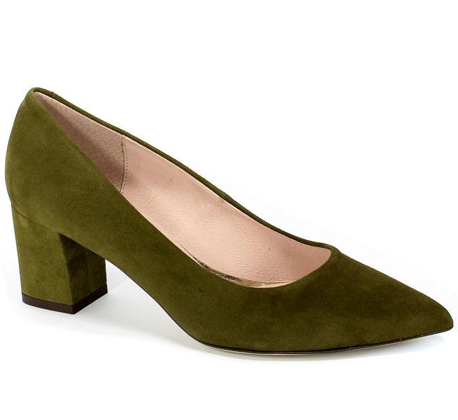 Czółenka Bravo Moda 1765 Oliwka Zamsz Zielony