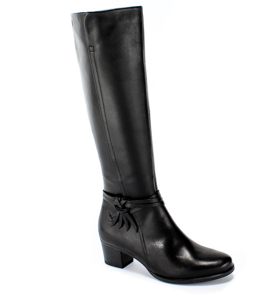 Kozaki Caprice 9-25518-23 022 XS Shaft Black Nappa Czarny