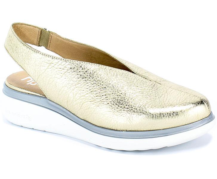 Sandały Wonders A-9705 Wash V Platino Złoty Skóra