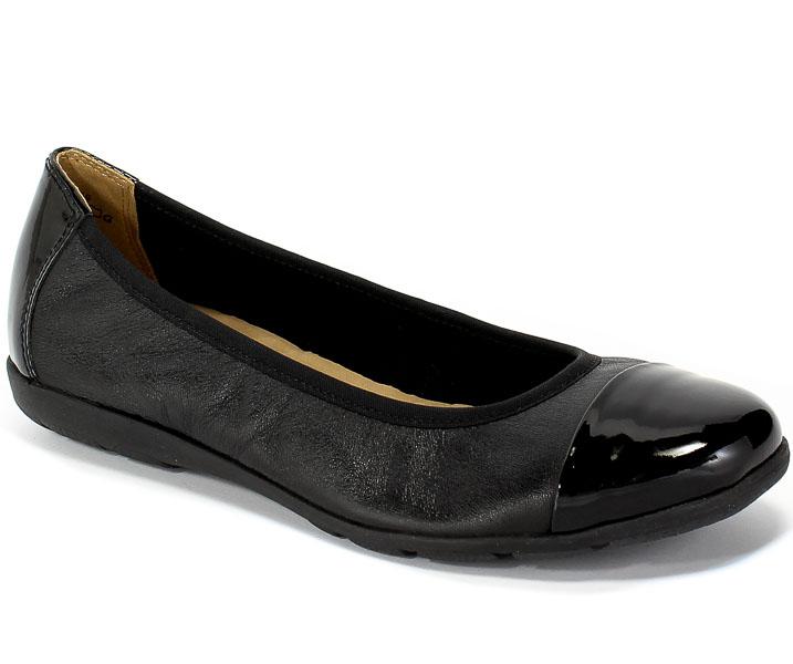 Baleriny Caprice 9-22152-25 019 Black Comb Czarny Skóra